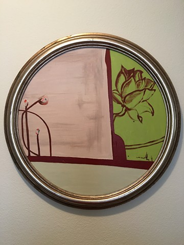minimal art, zen art, circle painting, oil on canvas, silver frame, boat portal