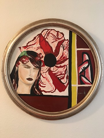 scarlet letter, women sexuality, sensuality in art, oil on canvas, circle painting, art for sale