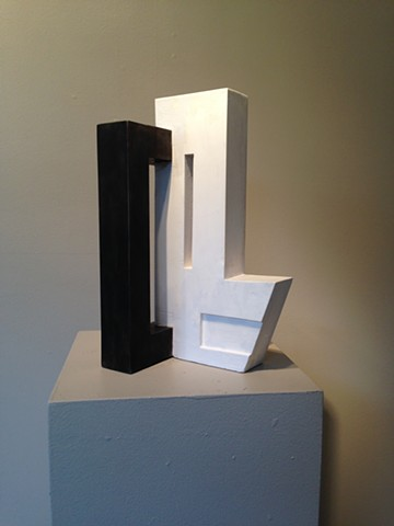 Plaster and steel abstract sculpture