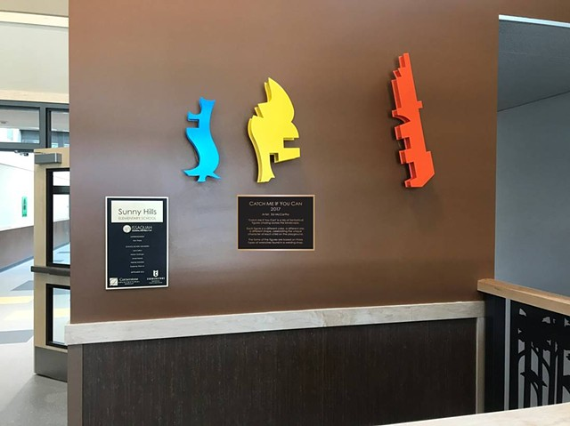 Maquette installed in front lobby of Sunny Hills Elementary School.
