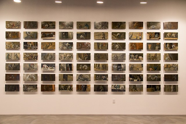 "Babel: Bruegel Gigapainted oil on steel 2014. Approx. 7 ft x 16 ft, installed. 70 panels, each: 8"" x 16"""