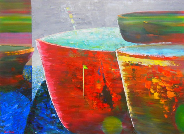 Surreal abstract oil painting with ships by Joel Barr artist