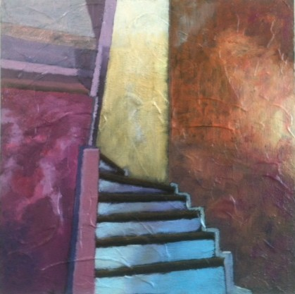 abstract oil painting of a New Orleans interior staircase by Joel Barr artist