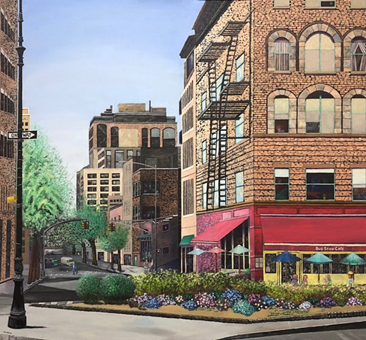 Cityscape in Greenwich Village, New York City by Atlanta artist Joel Barr