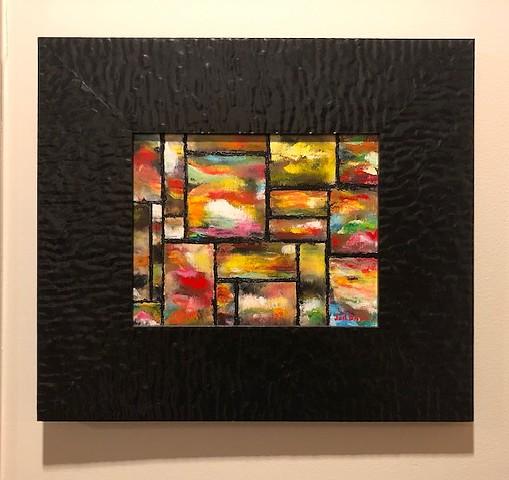 Abstract oil painting of stained glass by Joel Barr Atlanta Artist