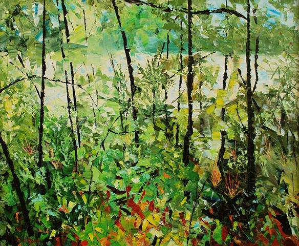 Abstract landscape of trees and river by Joel Barr Atlanta artist