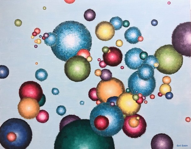 Abstract oil painting with spheres by Atlanta artist Joel Barr