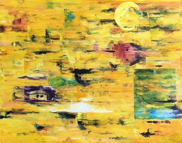 Abstract oil painting of dream in yellows with house by Joel Barr artist