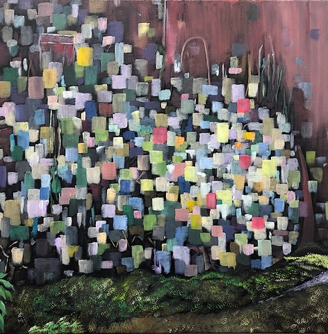 Abstract Cityscape oil painting by Atlanta Artist Joel Barr