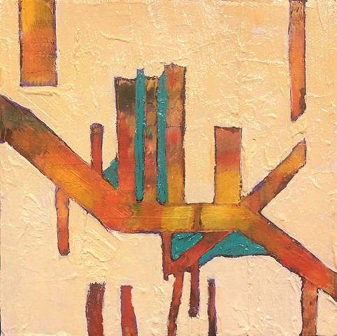 Architectural abstract oil painting by Joel Barr Atlanta Artist