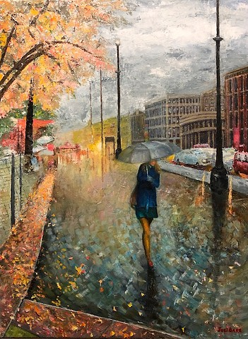 Street scene oil painting by Joel Barr Atlanta artist
