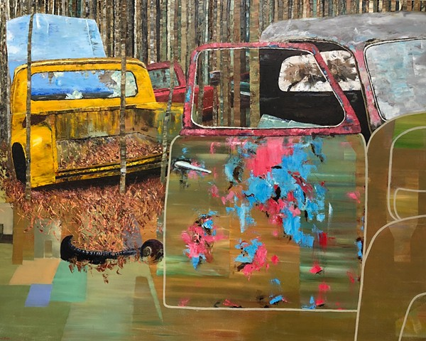 Surreal abstract oil painting of old cars and trucks by Joel Barr Atlanta Artist