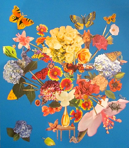 Collage in the manner of the Old Dutch masters Flower Paintings with animals and insects creeping into the arrangement