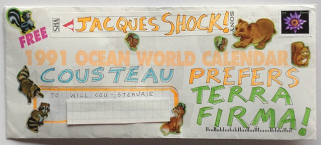 Envelope from the Cousteau Society, dated 1991, is decorated with stickers and colored markers, stamped and snailmailed to New York City as part of a 100 Day Project to create mail from recycled papers and goods
