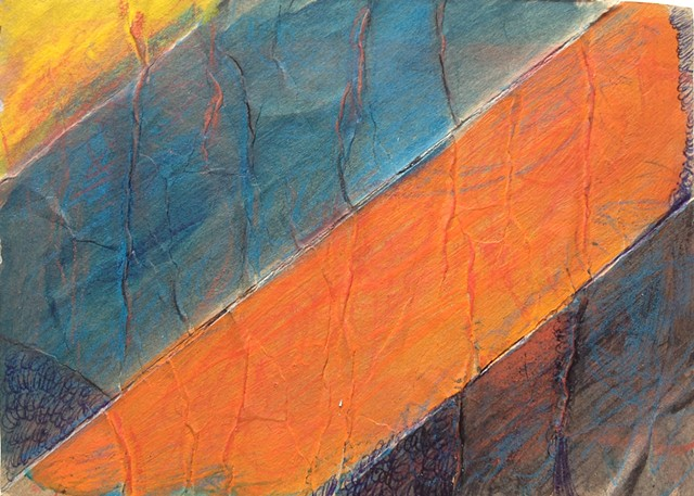 Colors of Basketball is a bright colored mixed media painting with stripes of yellow, blue and orange unrolled cardboard tube recycled into an ArtMail postcard