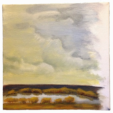 Small Art acrylic painting on Gallery-Wrapped Canvas with storm clouds over a winter pond in Texas landscape by Tracie Leeds Storie artist