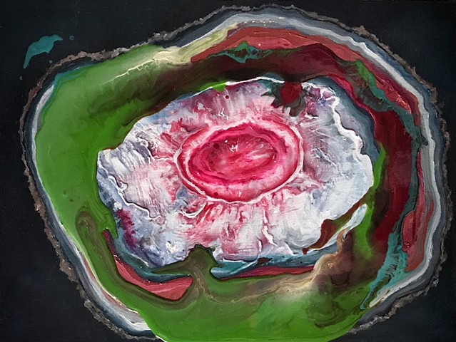 Geode: Fuchsia and Green