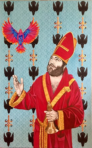 Saint with bell and birds and heat signature