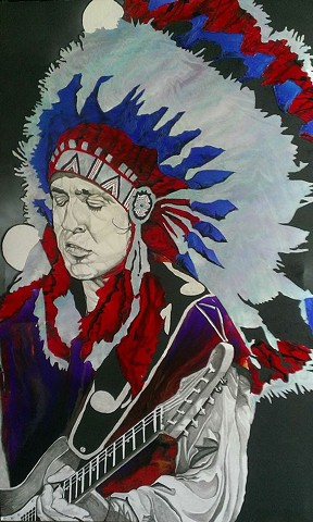 Stevie Ray Vaughn Tribute Painting