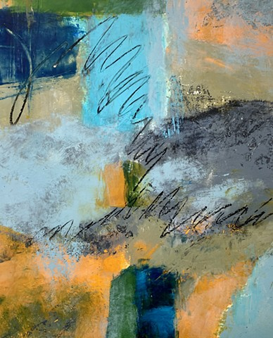 Abstract contemporary art, oil and cold wax medium, texture, movement