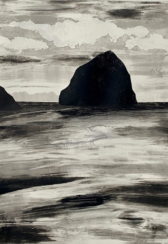 Monotype, Haystack Rock on Cannon Beach, Oregon