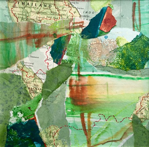 Collage with watercolor, monotype, handmade papers and maps