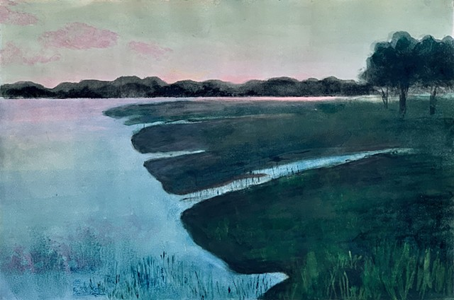 Tidal river marshlands after sunset