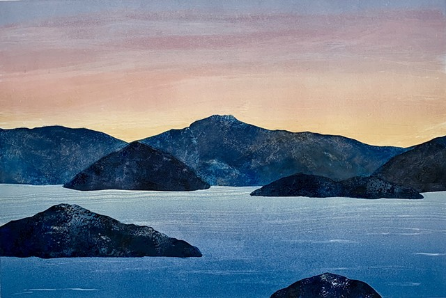 Island mountains, blue sea, dusk, twilight