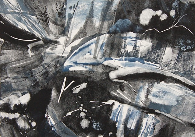 An abstract contemporary monotype, a form of printmaking. Otherworldly, outer space.