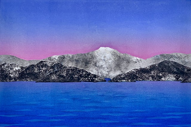 Mountain range, deep blue water, rose-colored sky