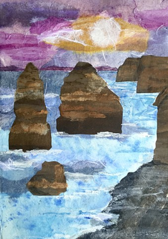 "Painted paper collage rendering of  the ""Twelve Apostles"" (Australia)"