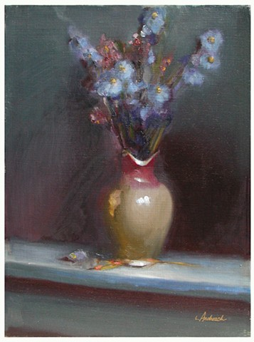 Delphinium Still Life studio painting by Lauren Andreach.