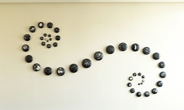 ceramic wall commission by Ana England burnish raku galaxy art and science