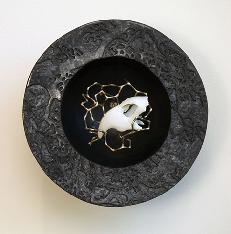 burnished raku fired and porcelain held with bronze molecular structure, nature, ecosystems
