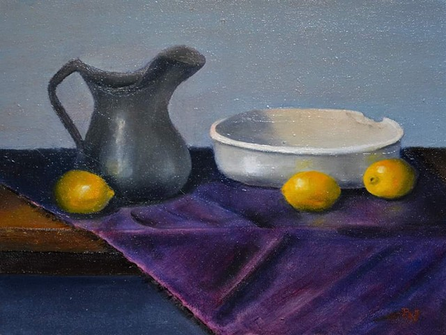 Pewter pitcher, porcelain chipped bowl and lemons