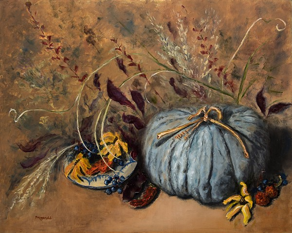 Blue moon squash and fall composition
