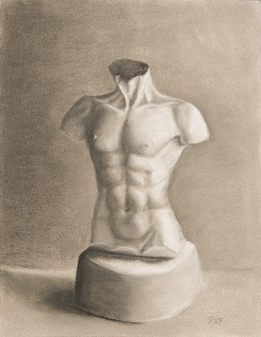 Pastel of plaster cast torso