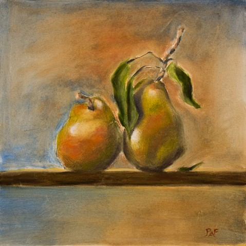 Still life of two pears
