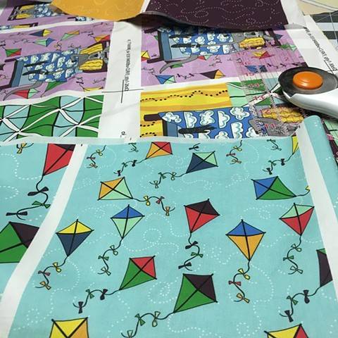 Cutting swatch squares, Dream Kangaroo