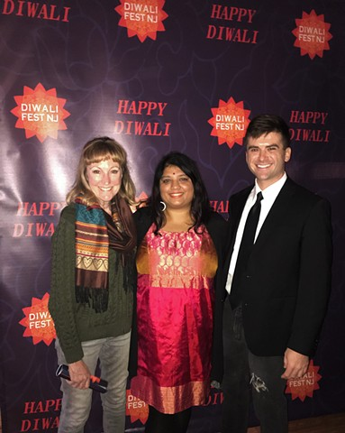 Actors Bev Sheehan & Swann Gruen with Writer/Director/Producer Shilpa Mankikar at Maplewood Diwali Festival, New Jersey, USA