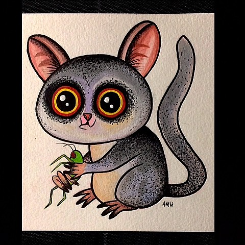 Bush baby, nature art ,kawaii, kids art,