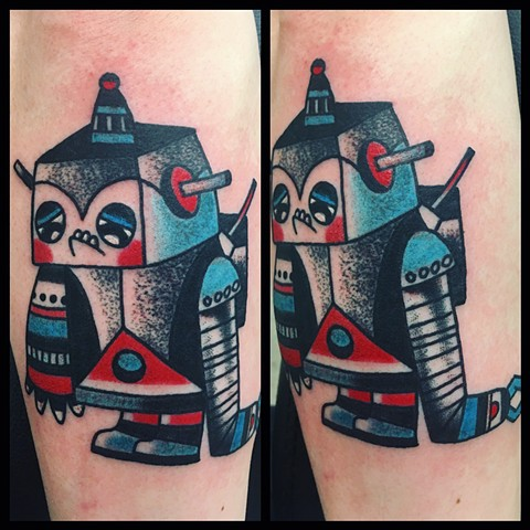 Sad little robot, kawaii tattoo