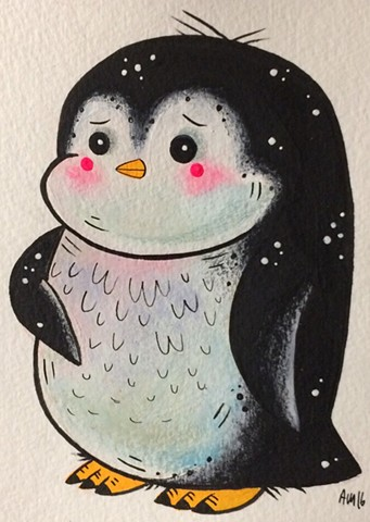 Penguin,kawaii,nature art, kids art