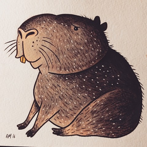 Kawaii,capybara,nature art,kids art,