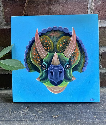 Triceratops gouache on wood panel.