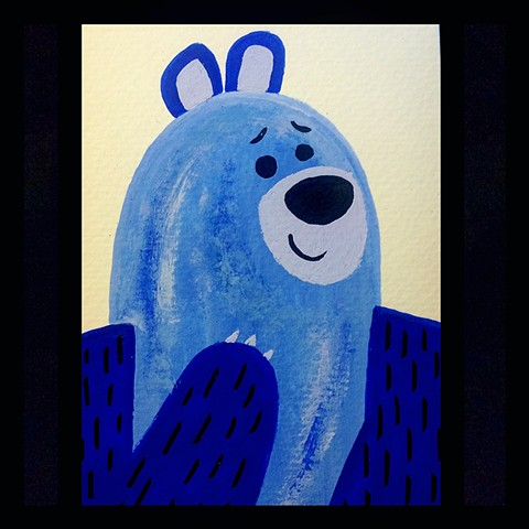 Blue bear,gouache painting, kawaii