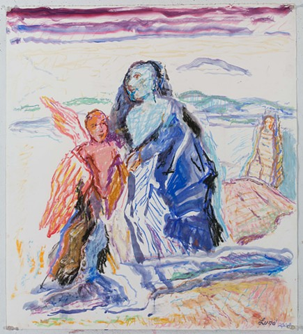 WANDERER AND SERAPH pastel, mixed media, on paper