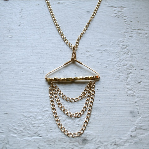 Libra Necklace with gold beads