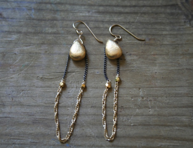 Gold Tear Earring