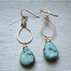 Sun Drop earring with turquoise drop